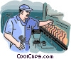 man working on the assembly line Vector Clipart graphic