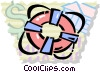 Vector Clip Art graphic  of a Life Vests and Preservers
