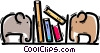Bookshelves Vector Clipart graphic