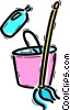 Vector Clip Art picture  of a Sweeping and Mopping