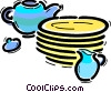 Bowls and Dishes Vector Clipart illustration