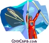 Vector Clipart illustration  of a Ski Jumping