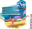Volleyball player digging for the ball Vector Clipart picture