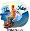 Skateboarders performing tricks Vector Clipart illustration