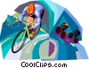 Vector Clip Art image  of a Cyclists
