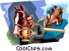 Horse Riders Vector Clip Art graphic