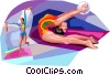 Gymnast performing the floor routine Vector Clipart graphic