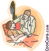 Vector Clipart picture  of a doctor treating a patient