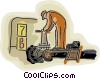 Vector Clipart graphic  of a working on a pipeline