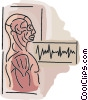 Vector Clip Art picture  of a ecg print-out