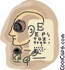 human head symbol with eye chart Vector Clip Art graphic