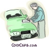 Vector Clip Art image  of a car salesman