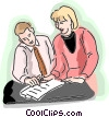 Man and woman reviewing a document Vector Clipart image