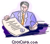 Man with a contract Vector Clip Art image