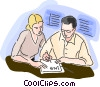 Man and woman signing a contract Vector Clipart picture