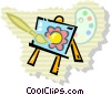 Vector Clipart graphic  of an art work on an easel