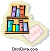 Bookshelves Vector Clip Art graphic