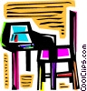 Vector Clip Art image  of a Desks