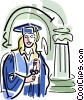 Graduate with diploma Vector Clipart illustration