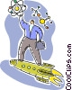 Scientist riding a rocket Vector Clipart picture