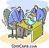 Businessmen with globe Vector Clip Art graphic