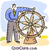 Vector Clip Art picture  of a Captain's Wheel