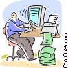 Doing Paperwork Vector Clipart graphic