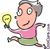 Vector Clipart illustration  of a Woman with an idea