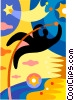 Vector Clip Art graphic  of a Pole Vaulter