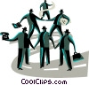 Vector Clip Art graphic  of a Teamwork and Cooperation
