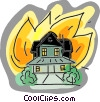 house on fire Vector Clip Art picture