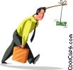 businessman being lead by money Vector Clipart graphic
