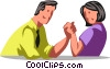 man and woman arm wrestling Vector Clip Art graphic