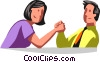 Vector Clipart image  of a man and woman arm wrestling