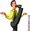Businessman with his foot in his mouth Vector Clipart picture