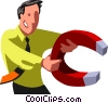 businessman with a magnet Vector Clipart illustration
