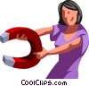 Vector Clip Art image  of a businesswoman with a magnet