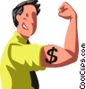 man flexing his financial strength Vector Clip Art graphic