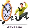 businessman being chased by a clock Vector Clipart picture