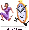Vector Clipart graphic  of a businesswoman being chased by