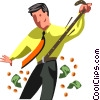 businessman tightening his belt Vector Clipart illustration