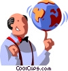 man spinning a globe on his finger Vector Clipart illustration