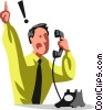 Men on the Phone at Work Vector Clipart graphic