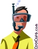 businessman in a snorkel and mask Vector Clipart graphic