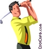 Vector Clipart graphic  of a businessman golfing