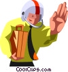 Vector Clipart graphic  of a businessman quarterback
