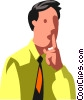 businessman asking for quiet Vector Clipart picture