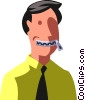 man with his mouth zippered Vector Clipart illustration