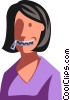 Vector Clip Art image  of a woman with her mouth zippered