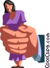 Vector Clip Art image  of a businesswoman being crushed